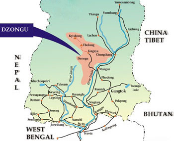 Map of Sikkim showing Dzongu